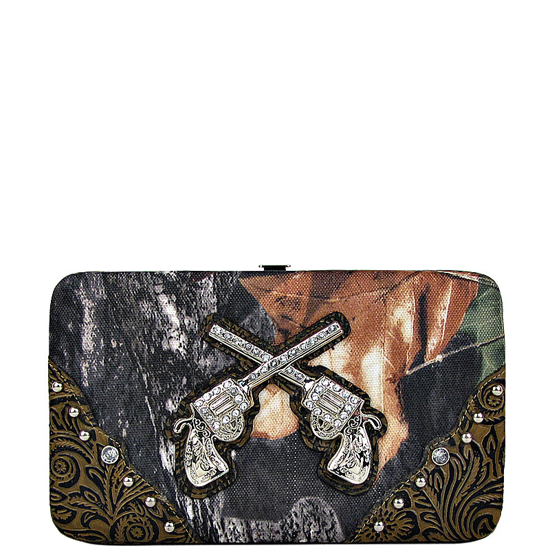 BROWN TOOLED MOSSY CAMO PISTOL LOOK FLAT THICK WALLET FW2-1203BRN