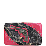 HOT PINK MOSSY CAMO PISTOL LOOK FLAT THICK WALLET FW2-1204HPK