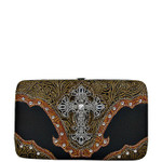 BLACK TOOLED CROSS LOOK FLAT THICK WALLET FW2-0410BLK