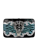 BLUE ZEBRA RHINESTONE BUCKLE LOOK FLAT THICK WALLET FW2-1207BLU