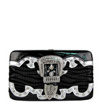 BLACK ZEBRA RHINESTONE BUCKLE LOOK FLAT THICK WALLET FW2-1207BLK
