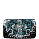 BLUE LEOPARD RHINESTONE CROSS LOOK FLAT THICK WALLET FW2-0403BLU