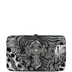 GRAY LEOPARD RHINESTONE CROSS LOOK FLAT THICK WALLET FW2-0412GRY