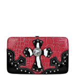 PINK CROC ZEBRA MALTESE CROSS LOOK FLAT THICK WALLET FW2-0402PNK