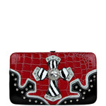 RED CROC ZEBRA MALTESE CROSS LOOK FLAT THICK WALLET FW2-0402RED