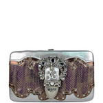 PURPLE SNAKESKIN RHINESTONE BUCKLE LOOK FLAT THICK WALLET FW2-1219PPL
