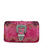 HOT PINK METALLIC RHINESTONE BUCKLE LOOK FLAT THICK WALLET FW2-1221HPK