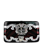 RED ZEBRA NET LOOK RHINESTONE BUCKLE FLAT THICK WALLET FW2-01258RED