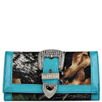 TURQUOISE MOSSY CAMO RHINESTONE BUCKLE LOOK CHECKBOOK WALLET CB1-1201TRQ