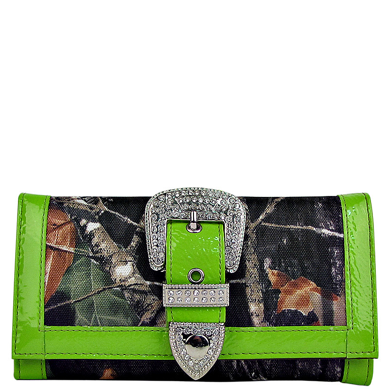 GREEN MOSSY CAMO RHINESTONE BUCKLE LOOK CHECKBOOK WALLET CB1-1201GRN