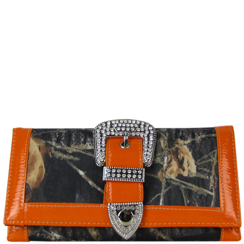 ORANGE MOSSY CAMO RHINESTONE BUCKLE LOOK CHECKBOOK WALLET CB1-1201ORG