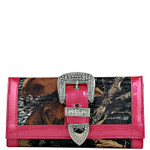 HOT PINK MOSSY CAMO RHINESTONE BUCKLE LOOK CHECKBOOK WALLET CB1-1201HPK