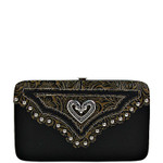 BLACK TOOLED STUDDED HEART LOOK FLAT THICK WALLET FW2-1297BLK