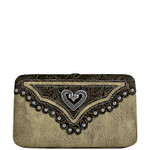 BEIGE TOOLED STUDDED HEART LOOK FLAT THICK WALLET FW2-1297BEI