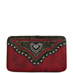 RED STUDDED HEART LOOK FLAT THICK WALLET FW2-1297RED