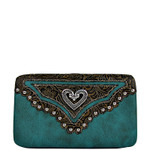 TURQUOISE STUDDED HEART LOOK FLAT THICK WALLET FW2-1297TRQ