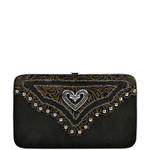 BROWN TOOLED STUDDED HEART LOOK FLAT THICK WALLET FW2-1297BRN