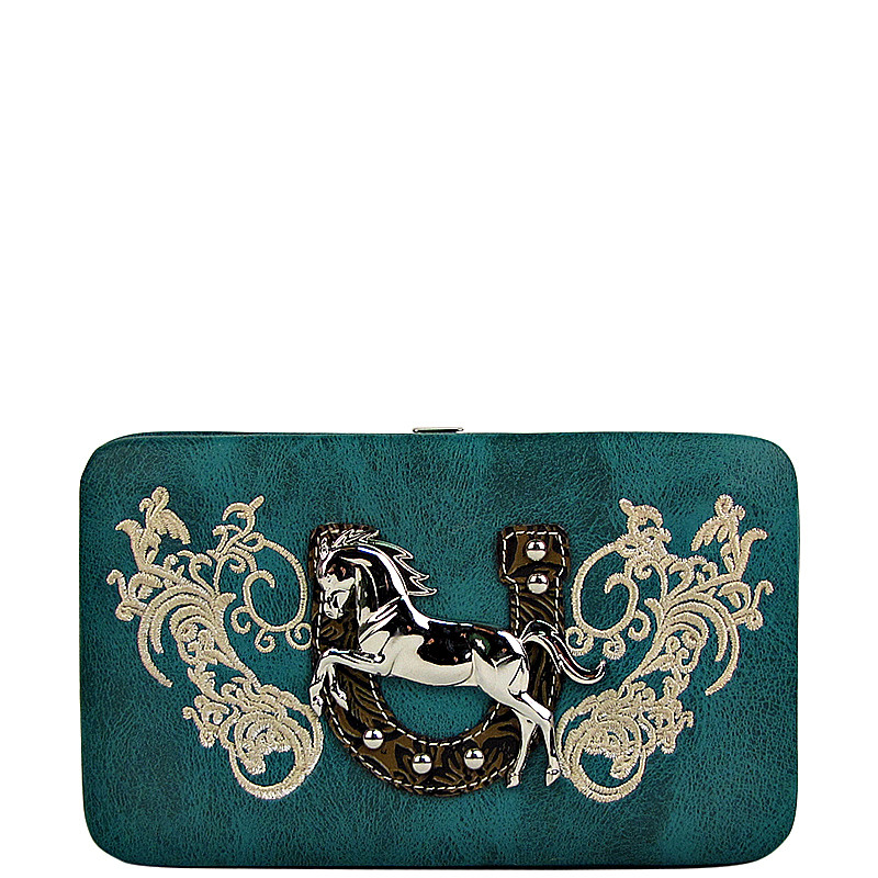 TURQUOISE STITCHED TOOLED HORSE HORSESHOE LOOK FLAT THICK WALLET FW2-1298TRQ