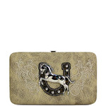 BEIGE STITCHED TOOLED HORSE HORSESHOE LOOK FLAT THICK WALLET FW2-1298BEI