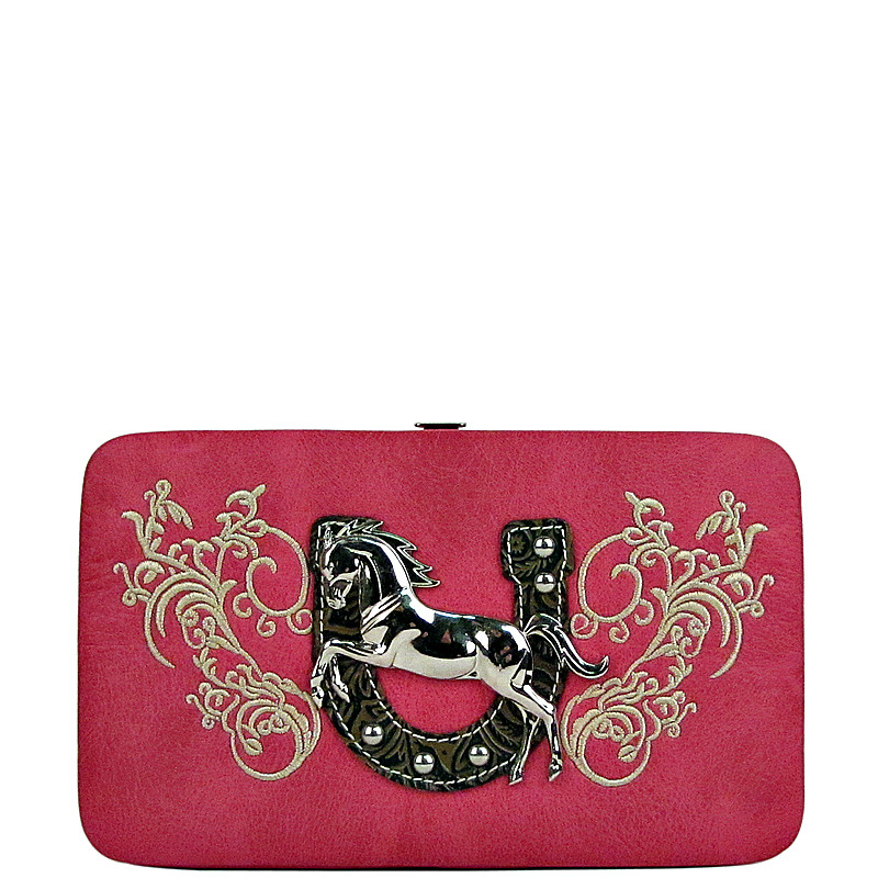 HOT PINK STITCHED TOOLED HORSE HORSESHOE LOOK FLAT THICK WALLET FW2-1298HPK