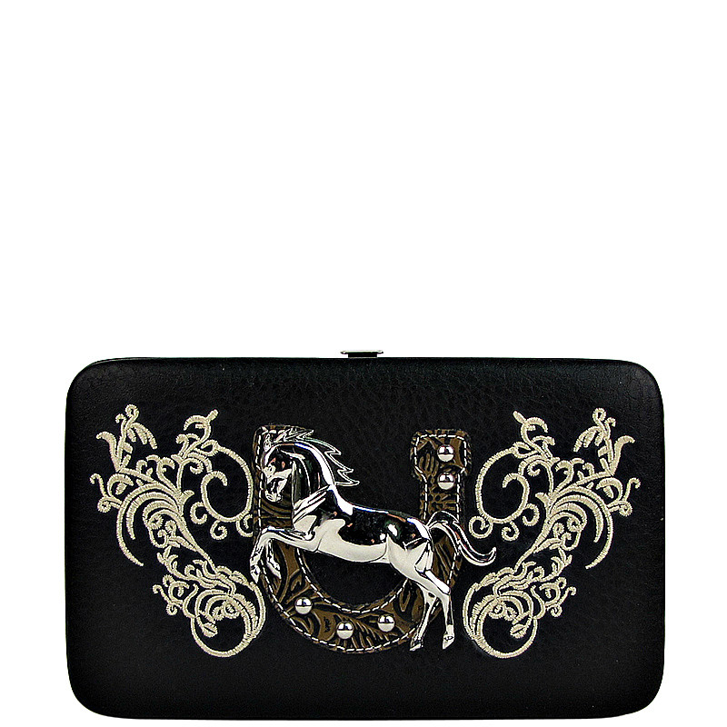 BLACK STITCHED TOOLED HORSE HORSESHOE LOOK FLAT THICK WALLET FW2-1298BLK