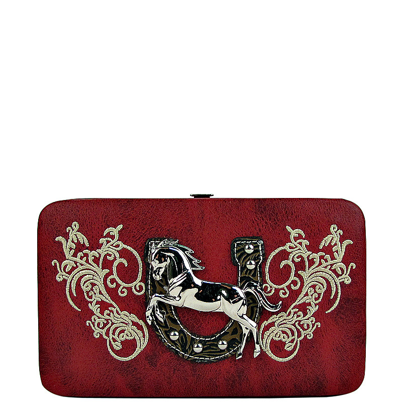 RED STITCHED TOOLED HORSE HORSESHOE LOOK FLAT THICK WALLET FW2-1298RED