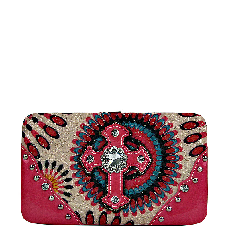 HOT PINK RETRO RHINESTONE CROSS LOOK FLAT THICK WALLET FW2-0467HPK