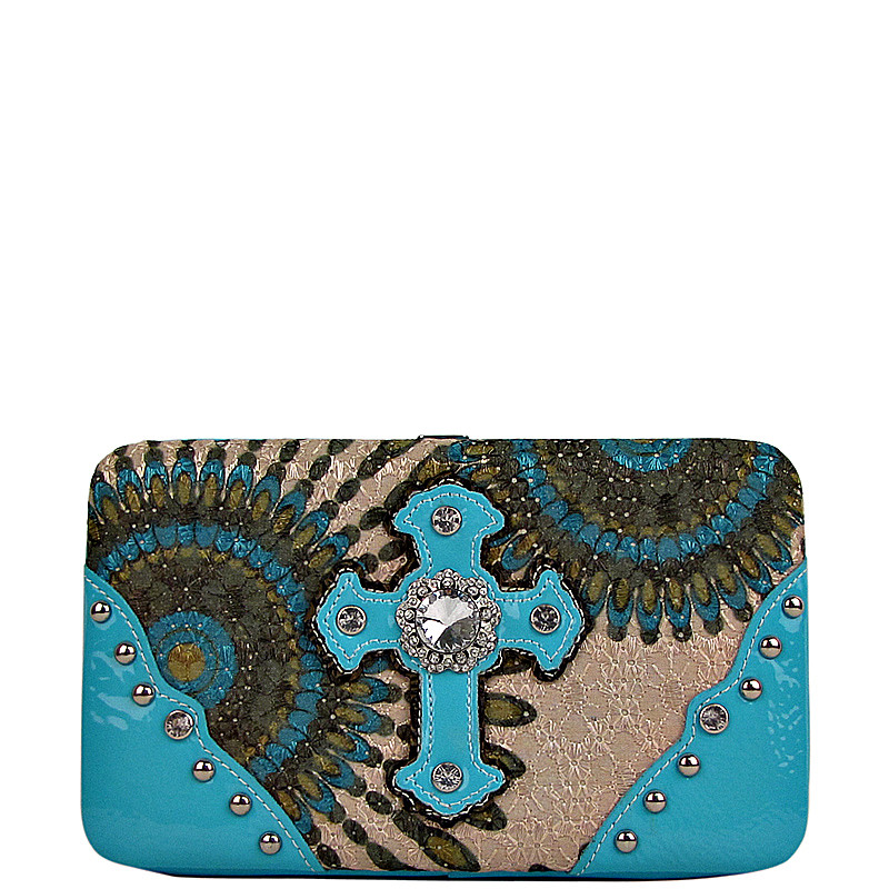 TURQUOISE RETRO RHINESTONE CROSS LOOK FLAT THICK WALLET FW2-0467TRQ