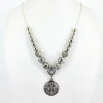 CLEAR RHINESTONE CROSS DESIGN SMALL PENDANT NECKLACE LOOK NK1-0423CLR