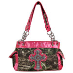 HOT PINK MOSSY CAMO RHINESTONE CROSS SHOULDER HANDBAG HB1-M8811HPK