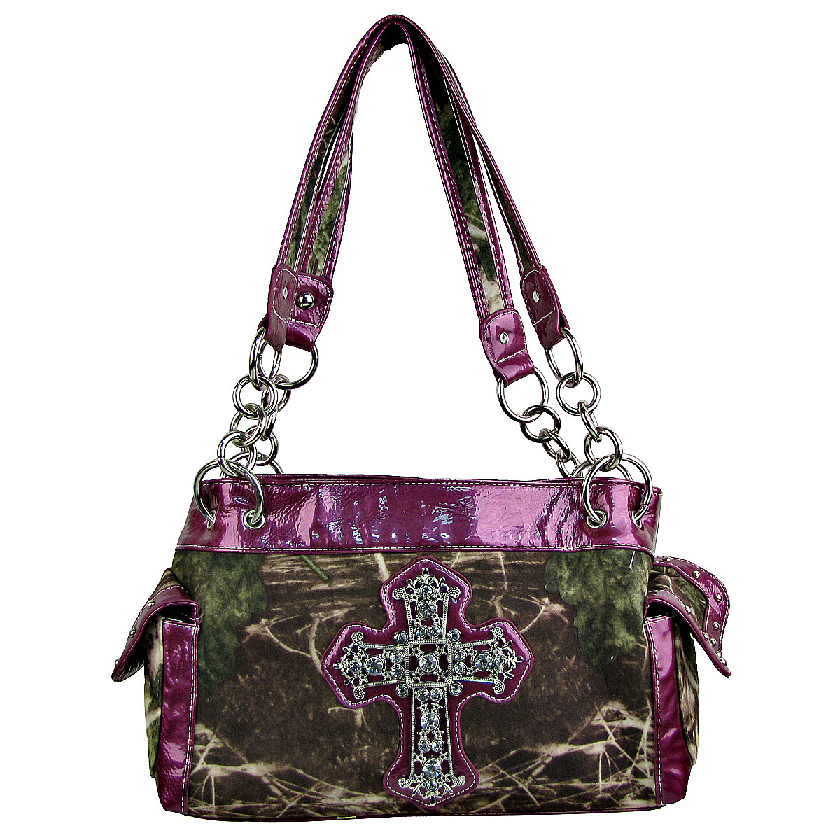 PURPLE MOSSY CAMO RHINESTONE CROSS SHOULDER HANDBAG HB1-M8811PPL