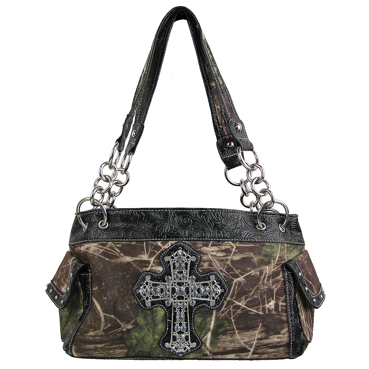 BLACK MOSSY CAMO RHINESTONE CROSS SHOULDER HANDBAG HB1-M8811BLK