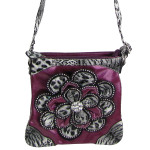 PURPLE RHINESTONE LEOPARD FLOWER DISTRESSED LOOK MESSENGER BAG MB1-2112PPL
