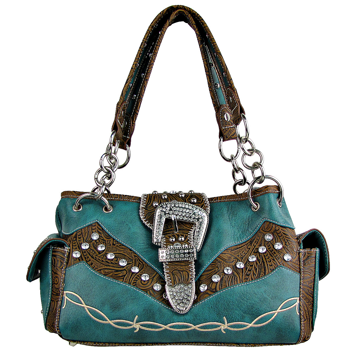 TURQUOISE TOOLED RHINESTONE BUCKLE LOOK WESTERN SHOULDER HANDBAG HB1-C1009TRQ