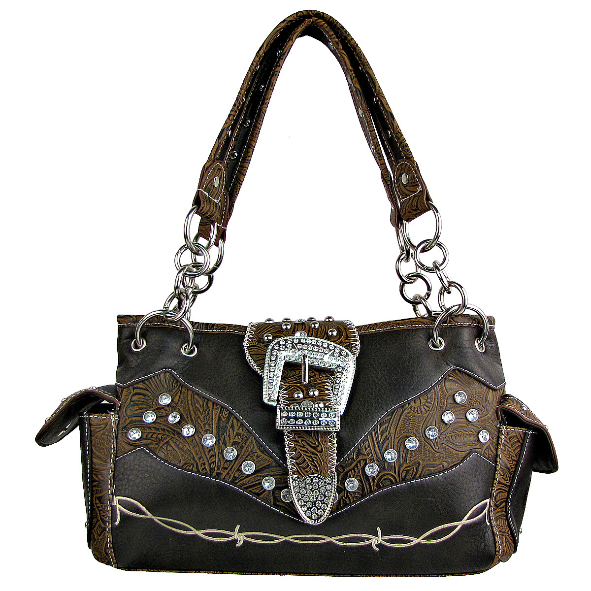 BROWN TOOLED RHINESTONE BUCKLE LOOK WESTERN SHOULDER HANDBAG HB1-C1009BRN