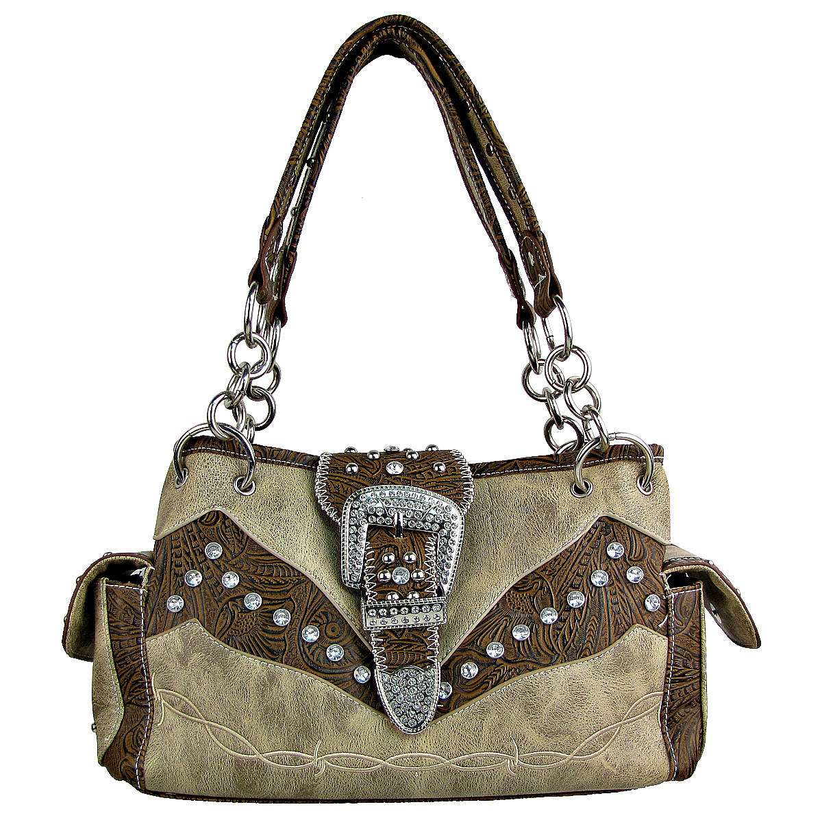 BEIGE TOOLED RHINESTONE BUCKLE LOOK WESTERN SHOULDER HANDBAG HB1-C1009BEI