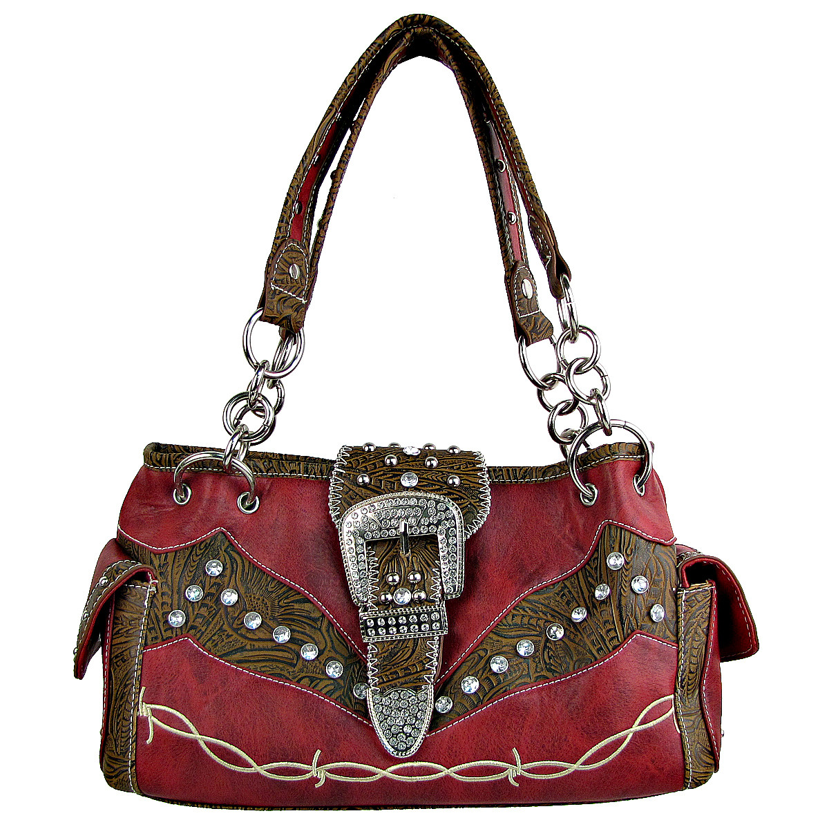 RED TOOLED RHINESTONE BUCKLE LOOK WESTERN SHOULDER HANDBAG HB1-C1009RED