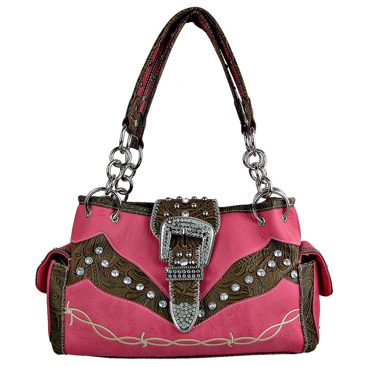HOT PINK TOOLED RHINESTONE BUCKLE LOOK WESTERN SHOULDER HANDBAG HB1-C1009HPK
