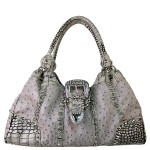 GRAY OSTRICH STUDDED RHINESTONE BUCKLE LOOK SHOULDER HANDBAG HB1-L11380GRY