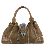 BROWN OSTRICH STUDDED RHINESTONE BUCKLE LOOK SHOULDER HANDBAG HB1-L11380BRN