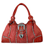 PINK OSTRICH STUDDED RHINESTONE BUCKLE LOOK SHOULDER HANDBAG HB1-L11380PNK