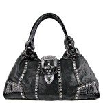 BLACK OSTRICH STUDDED RHINESTONE BUCKLE LOOK SHOULDER HANDBAG HB1-L11380BLK