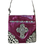 PURPLE PATENT LEOPARD RHINESTONE CROSS LOOK MESSENGER BAG MB1-C946PPL