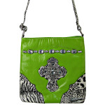 GREEN PATENT LEOPARD RHINESTONE CROSS LOOK MESSENGER BAG MB1-C946GRN