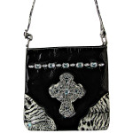 BLACK PATENT LEOPARD RHINESTONE CROSS LOOK MESSENGER BAG MB1-C946BLK