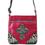HOT PINK PATENT LEOPARD RHINESTONE CROSS LOOK MESSENGER BAG MB1-C946HPK