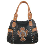 BLACK TOOLED RHINESTONE PISTOLS LOOK WESTERN SHOULDER HANDBAG HB1-HL12550BLK