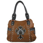 BROWN TOOLED RHINESTONE PISTOLS LOOK WESTERN SHOULDER HANDBAG HB1-HL12550BRN