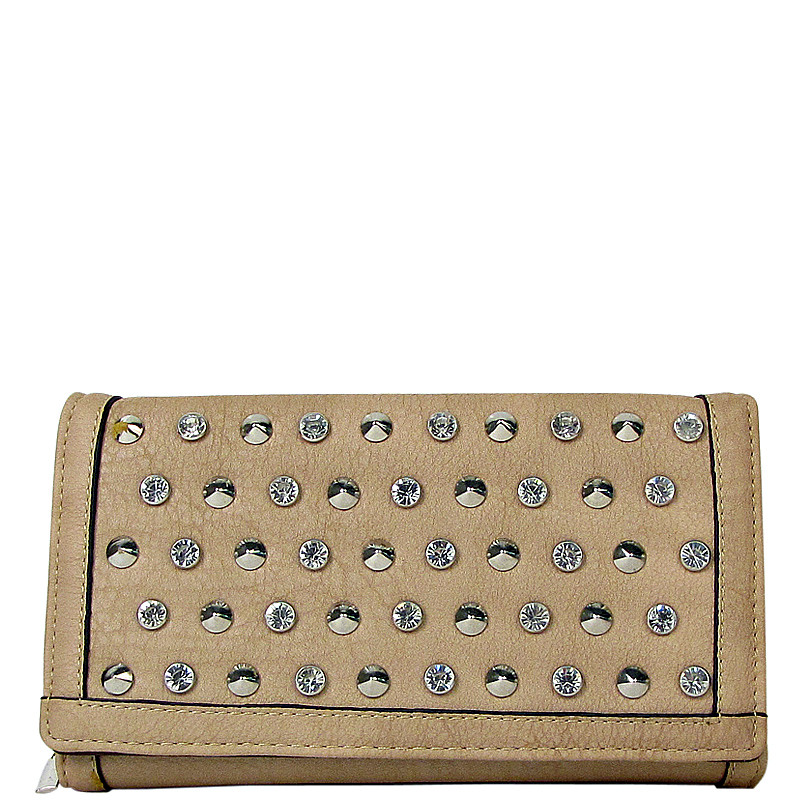 BEIGE STUDDED RHINESTONE DISTRESSED LEATHERETTE LOOK CHECKBOOK WALLET CB1-1213BEI
