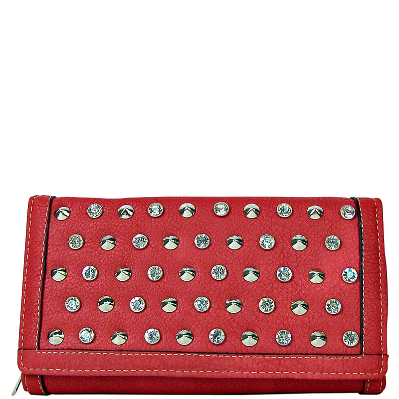 CORAL STUDDED RHINESTONE DISTRESSED LEATHERETTE LOOK CHECKBOOK WALLET CB1-1213COR